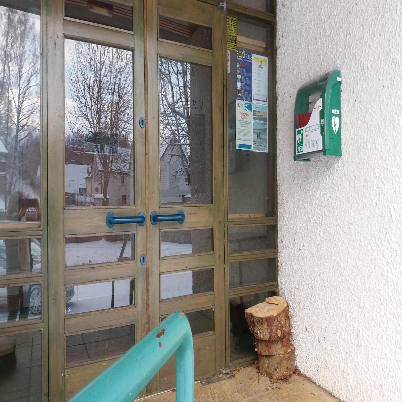 Defib at Kincraig Village Hall